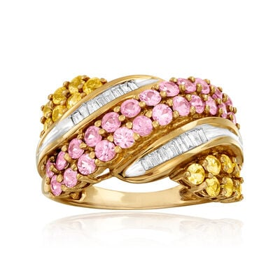 C. 2000 Vintage 2.70 ct. t.w. Pink and Yellow Sapphire and .20 ct. t.w. Diamond Diagonal Ring in 14kt Yellow Gold, , default