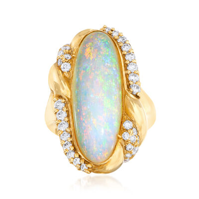 C. 1980 Vintage Opal and .65 ct. t.w. Diamond Ring in 14kt Yellow Gold