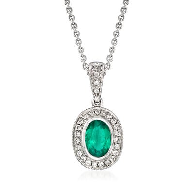 C. 1990 Vintage .70 Carat Emerald and .20 ct. t.w. Diamond Pendant Necklace in 14kt White Gold, , default
