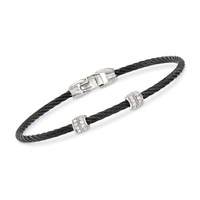 "ALOR ""Classique"" Black Stainless Steel Cable Station Bracelet with .13 ct. t.w. Diamonds and 18kt White Gold"