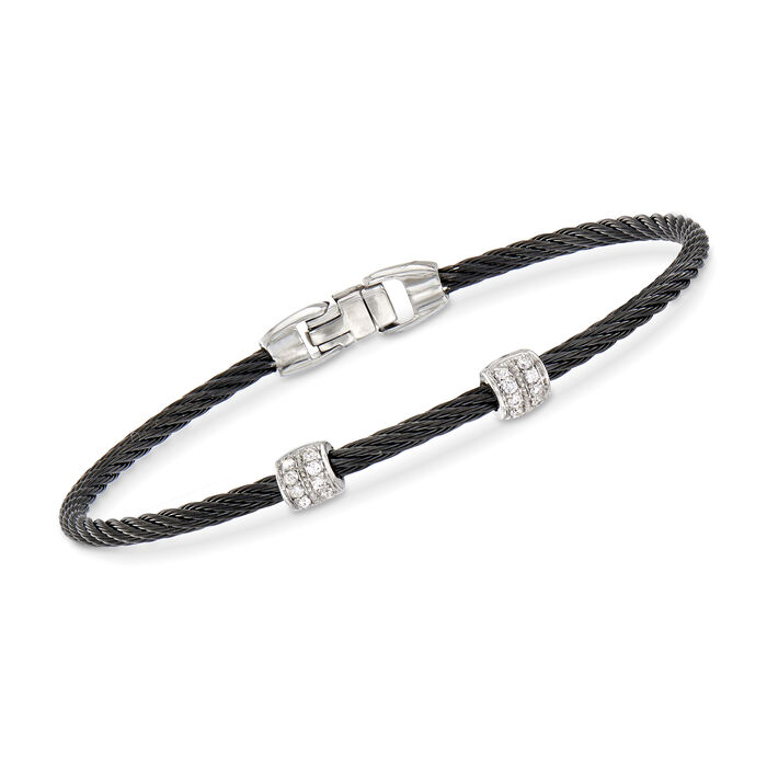 """ALOR """"Classique"""" Black Stainless Steel Cable Station Bracelet with .13 ct. t.w. Diamonds and 18kt White Gold. 7"""""""