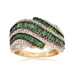 C. 1990 Vintage 2.80 ct. t.w. Green and White Diamond Ring in 14kt Yellow Gold, , default