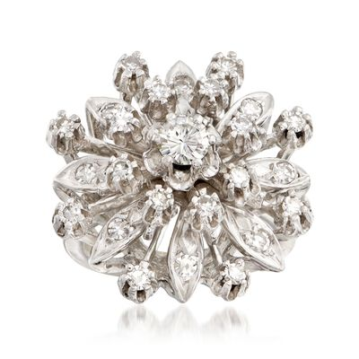 C. 1950 Vintage .95 ct. t.w. Diamond Cluster Ring in 14kt White Gold, , default