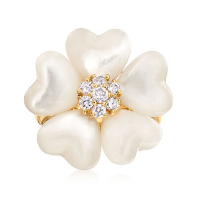 C. 1980 Vintage Mother-Of-Pearl and .32 ct. t.w. Diamond Flower Ring in 18kt Yellow Gold