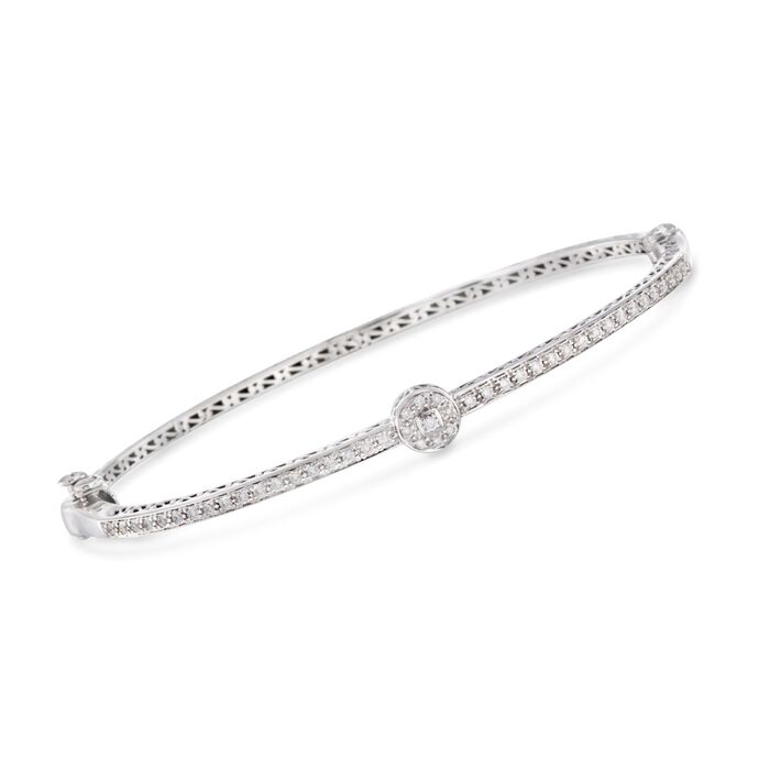 ALOR .42 Carat Total Weight Diamond Circle Staion Bangle in 18-Karat White Gold. 7""