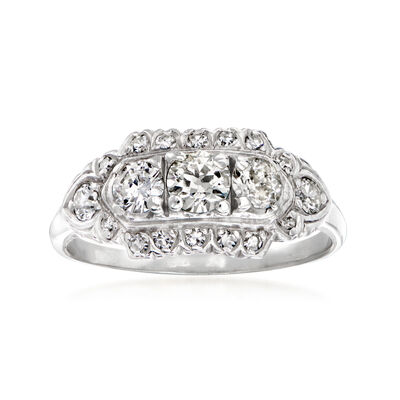 C. 1930 Vintage 1.00 ct. t.w. Diamond Ring in 14kt White Gold
