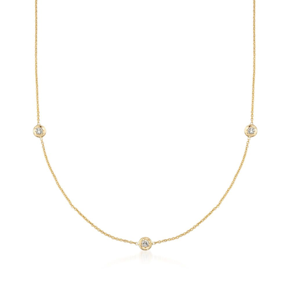 113ca86a5 Roberto Coin .15 Carat Total Weight Diamond Station Necklace in 18-Karat  Yellow Gold