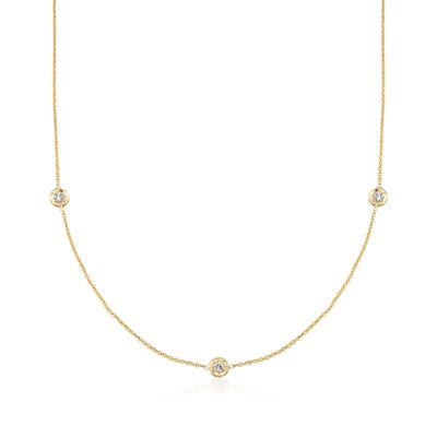 Roberto Coin .15 ct. t.w. Diamond Station Necklace in 18kt Yellow Gold, , default