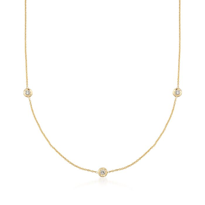 "Roberto Coin .15 Carat Total Weight Diamond Station Necklace in 18-Karat Yellow Gold. 16"", , default"