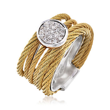 """ALOR """"Classique"""" .10 ct. t.w. Diamond Yellow Stainless Steel Cable Ring with 18kt White Gold. Size 7"""