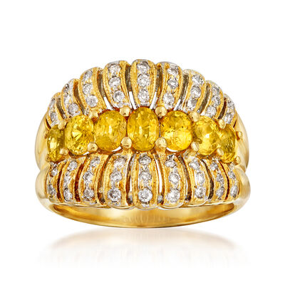 C. 1990 Vintage 1.75 ct. t.w. Yellow Sapphire and .40 ct. t.w. Diamond Ring in 18kt Yellow Gold, , default
