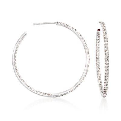 Roberto Coin 1.10 ct. t.w. Diamond Inside-Outside Hoop Earrings in 18kt White Gold, , default