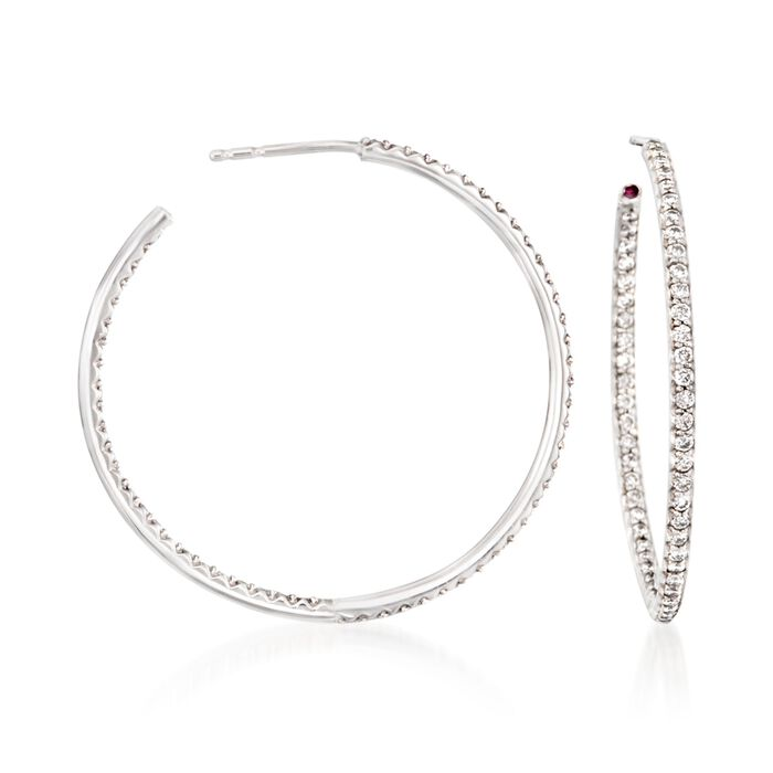 Roberto Coin 1.10 Carat Total Weight Diamond Inside-Outside Hoop Earrings in 18-Karat White Gold, , default