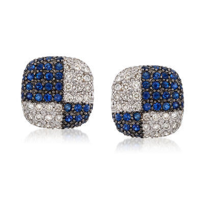 C. 1980 Vintage 1.40 ct. t.w. Sapphire and 1.00 ct. t.w. Diamond Checkerboard Earrings in 18kt White Gold, , default