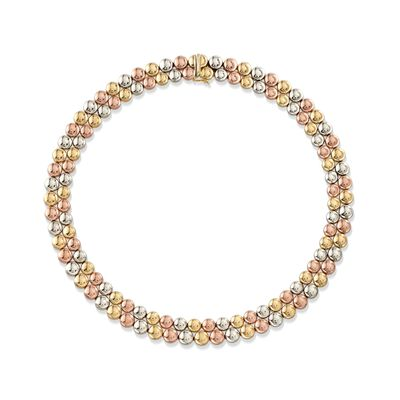 C. 1990 Vintage 18kt Tri-Colored Gold Double-Bead Necklace, , default
