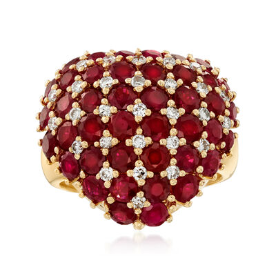 C. 1990 Vintage 5.97 ct. t.w. Ruby and .43 ct. t.w. Diamond Heart Ring in 18kt Yellow Gold