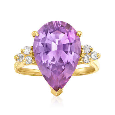 C. 1980 Vintage 4.70 Carat Amethyst and .15 ct. t.w. Diamond Ring in 14kt Yellow Gold