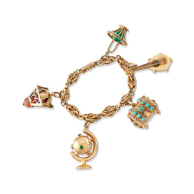 C. 1970 Vintage Multi-Gemstone Charm Bracelet in 18kt Yellow Gold, , default