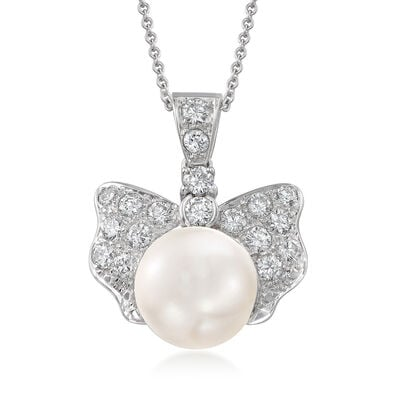 C. 1990 Vintage 12x10mm Cultured Pearl and 1.35 ct. t.w. Diamond Bow Pendant Necklace in 18kt White Gold, , default