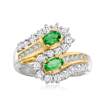 C. 1990 Vintage .49 ct. t.w. Tsavorite Ring with .92 ct. t.w. Diamonds in 18kt Yellow Gold