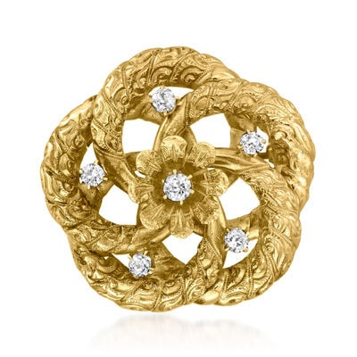 C. 1940 Vintage .35 ct. t.w. Diamond Flower Pin in 18kt Yellow Gold