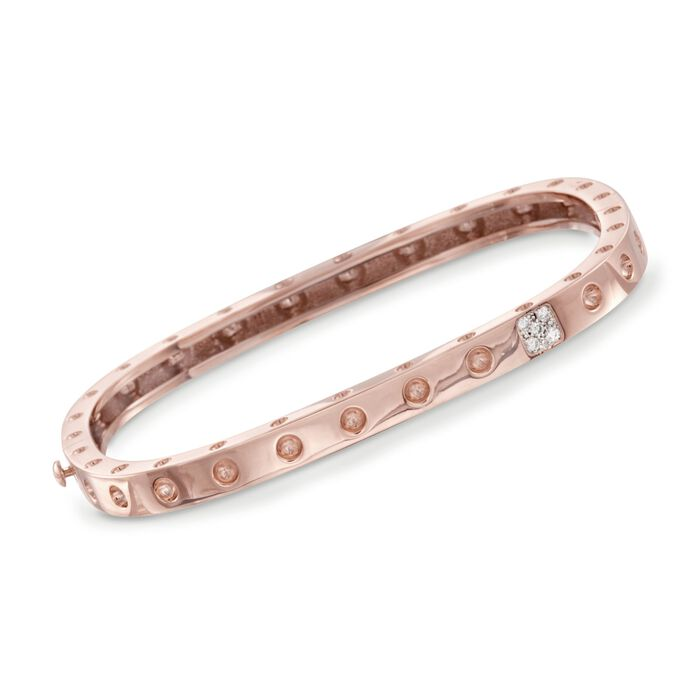 "Roberto Coin Pois Moi Diamond Accent Square Bangle in 18-Karat Rose Gold. 7"", , default"