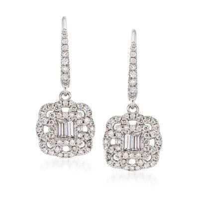 Gregg Ruth .62 ct. t.w. Diamond Drop Earrings in 18kt White Gold