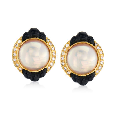 C. 1980 Vintage Cultured Mabe Pearl, Black Onyx and .45 ct. t.w. Diamond Earrings in 14kt Yellow Gold, , default