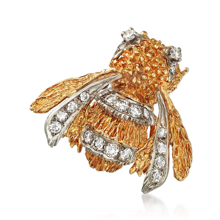 C. 1970 Vintage .85 ct. t.w. Diamond Bumble Bee Pin in 14kt Yellow Gold