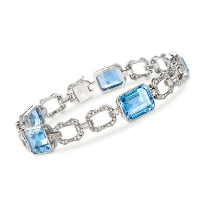 C. 1990 Vintage 14.10 ct. t.w. Aquamarine and .85 ct. t.w. Diamond Bracelet in Platinum, , default