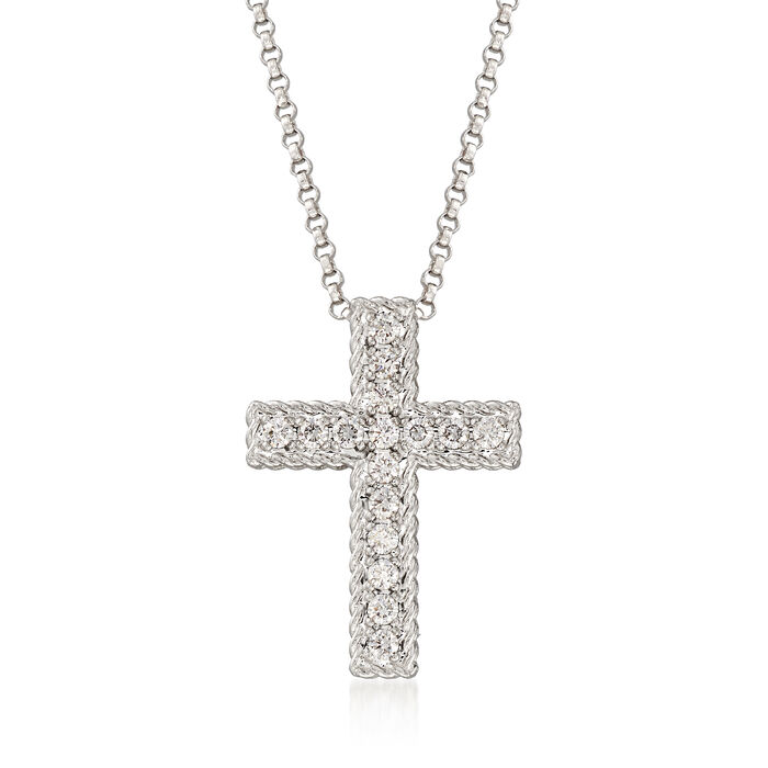 """Roberto Coin """"Princess"""" .23 ct. t.w. Diamond Cross Necklace in 18kt White Gold. 16.75"""", , default"""