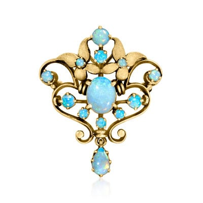 C. 1980 Vintage Opal Pin/Pendant in 14kt Yellow Gold