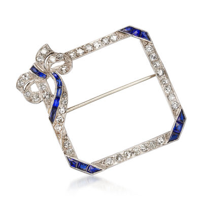 C. 1950 Vintage 1.15 ct. t.w. Diamond and .80 ct. t.w. Synthetic Sapphire Pin in Platinum, , default