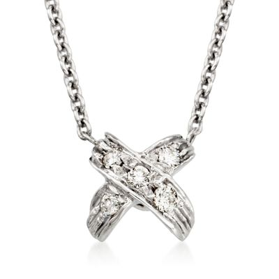 """Roberto Coin """"Tiny Treasures"""" Pave Diamond """"X"""" Pendant Necklace in 18kt White Gold, , default"""