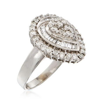 C. 1980 Vintage 1.10 ct. t.w. Diamond Teardrop Ring in 14kt White Gold. Size 7.5, , default