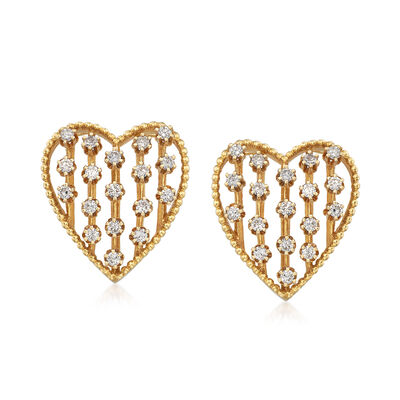 C. 1990 Vintage 1.00 ct. t.w. Diamond Heart Pin/Pendant in 14kt Yellow Gold, , default