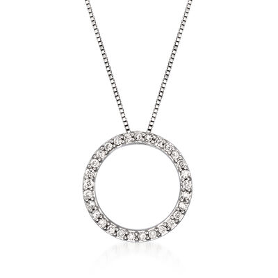 C. 1990 Vintage .30 ct. t.w. Diamond Open-Circle Pendant Necklace in 14kt White Gold