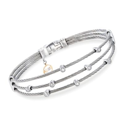 "ALOR ""Classique"" .18 ct. t.w. Diamond Gray Multi-Row Cable Bracelet with 18kt White Gold"