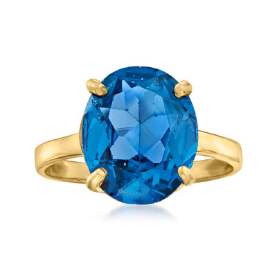 C. 1970 Vintage 4.30 Carat Synthetic Blue Spinel Ring in 14kt Yellow Gold