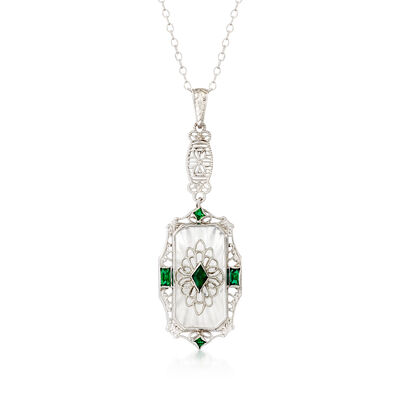 C. 1950 Vintage Rock Crystal Pendant Necklace with Simulated Emeralds in 14kt White Gold