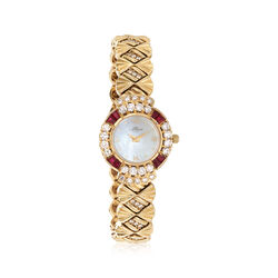C. 1990 Vintage Allegro Women's 23mm 2.00 ct. t.w. Diamond and 1.00 ct. t.w. Ruby Watch in 14kt Gold, , default