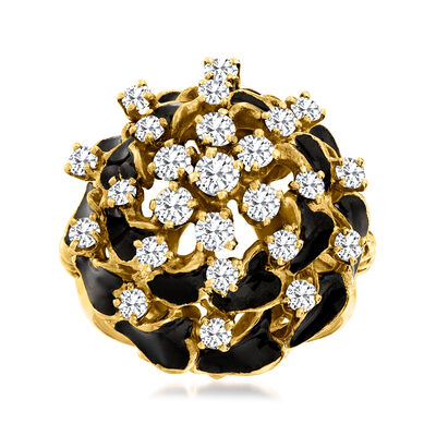 C. 1960 Vintage 1.00 ct. t.w. Diamond Cluster Ring with Black Enamel in 14kt Yellow Gold