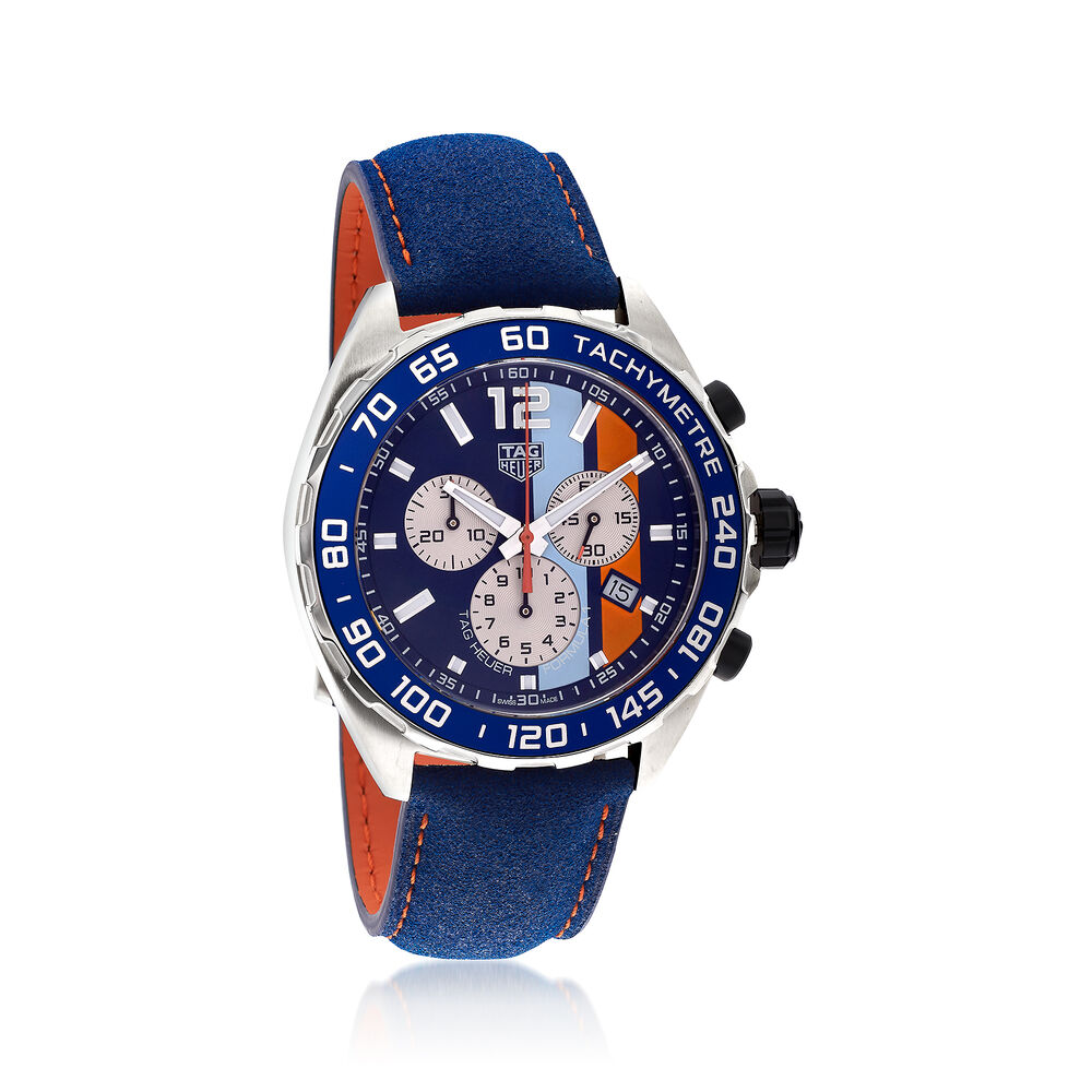 22bc607cbe3 TAG Heuer Formula 1 Gulf Special Edition Men's 43mm Chronograph Watch with  Blue and Orange ,