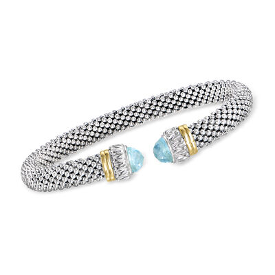 "Phillip Gavriel ""Popcorn"" .60 ct. t.w. Sky Blue Topaz Cuff Bracelet in Sterling Silver with 18kt Yellow Gold"