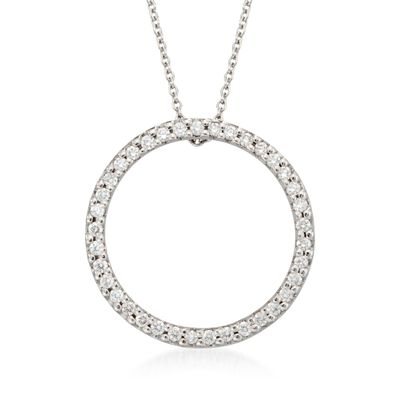Roberto Coin .26 ct. t.w. Diamond Open Circle Pendant Necklace in 18kt White Gold, , default