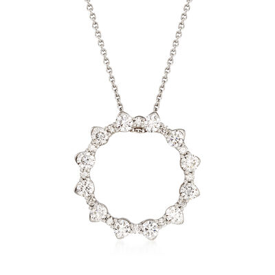 Roberto Coin .80 ct. t.w. Diamond Open Circle Necklace in 18kt White Gold