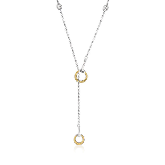 """Judith Ripka """"Vienna"""" Sterling Silver and 18kt Yellow Gold Y-Necklace with Diamond Accents"""