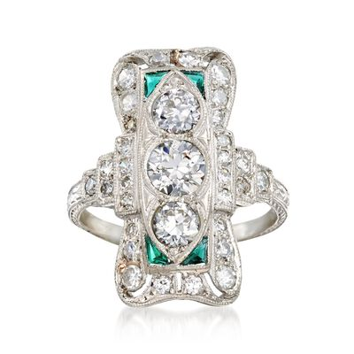 C. 1920 Vintage 1.75 ct. t.w. Diamond Dinner Ring with Synthetic Emerald Accents in Platinum, , default