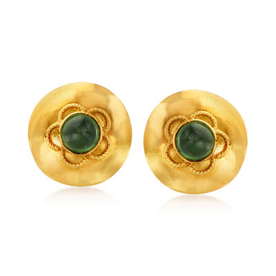 C. 1980 Vintage 1.00 ct. t.w. Green Tourmaline Flower Earrings in 18kt Yellow Gold