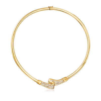 C. 1990 Vintage 2.75 ct. t.w. Diamond Omega Necklace in 14kt Yellow Gold, , default